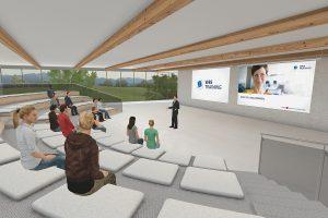 Visualisierung einer Vortragssituation in einem Saal