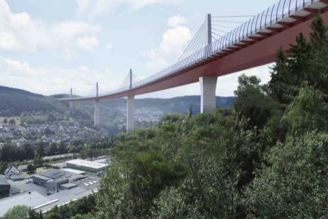 """Für das """"Projekt """"Siegtalbrücke"""" mit 1.050 Metern Länge ist eine Schrägseilbrücke mit sechs Spuren geplant. Voraussichtliche Bauzeit: 2027 bis 2034."""
